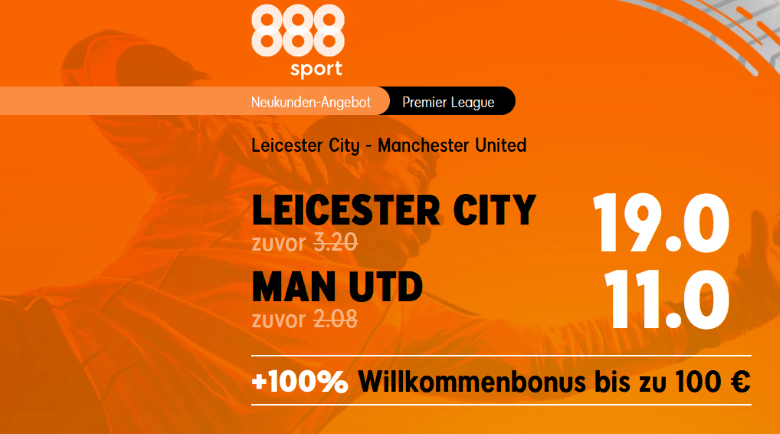 888 Quotenboost - Leicester VS Man-Utd