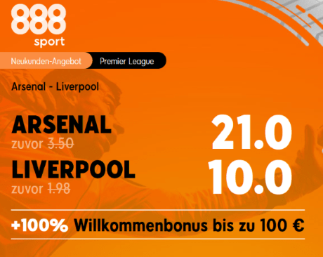 888 Quotenboost - Arsenal VS Liverpool