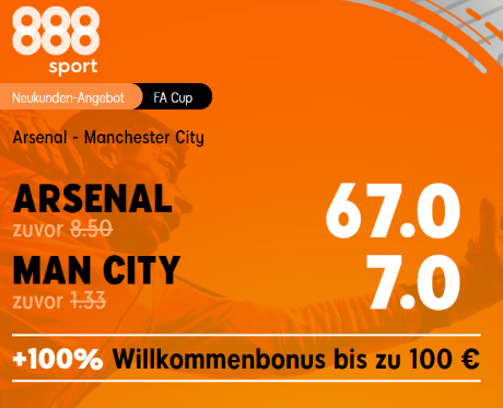 888 Quotenboost - Arsenal vs. Manchester City